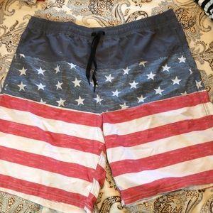 Men's patriotic swim trunks. NWT.